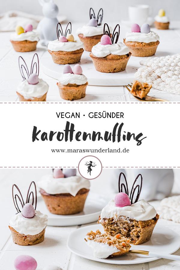 Schnelles und einfaches Rezept für gesunde und vegane Karottenmuffins. Saftig und aromatisch. Perfekt für Ostern. • Maras Wunderland