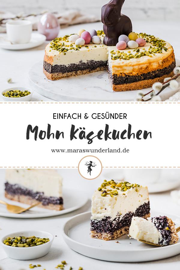 Gesündere Mohn-Käsekuchen. Saftig, cremig & unglaublich lecker. Einfach gemacht & perfekt zu Ostern. Den liebt die ganze Familie! • Maras Wunderland #ostern #easter #cheesecake #käsekuchen #mohnkuchen