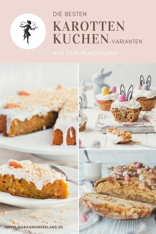 Die besten Karottenkuchen aus dem Wunderland. Klassisch, vegan, glutenfrei, gesünder - alles dabei. • Maras Wunderland #karottenkuchen #ostern #carrotcake