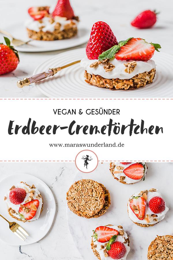 Vegane Erdbeertörtchen mit Creme und Granolaboden. Glutenfrei und gesund. Perfekt für Geburtstage. Schnell und einfach gemacht. • Maraswunderland #erdbeerkuchen #strawberrycake