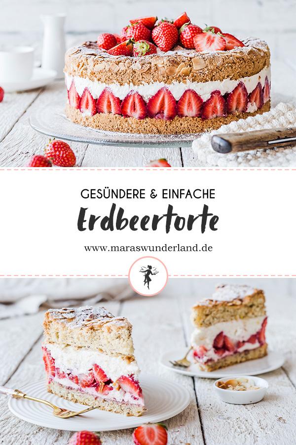 Gesunde und einfache Erdbeertorte. Erdbeeren mit Biskuit und lockerer Creme. Einfach gemacht und mit Gelinggarantie. • Maras Wunderland #biskuit #torte #erdbeertorte #strawberrycake
