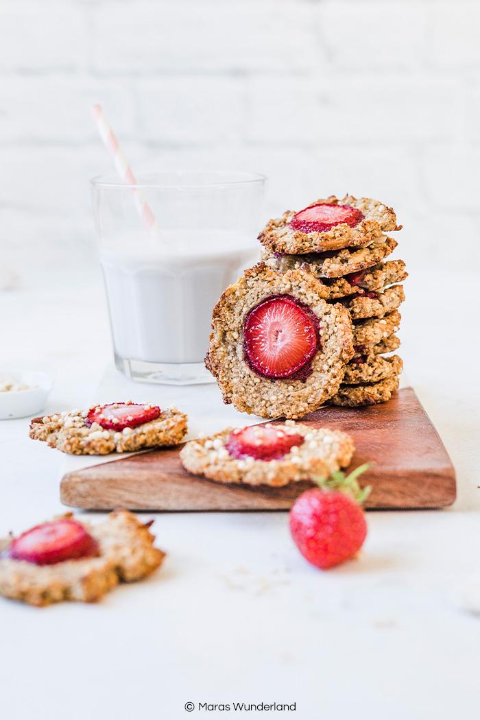Einfaches und schnelles Rezept für vegane, glutenfreie uns gesunde Erdbeer Cookies