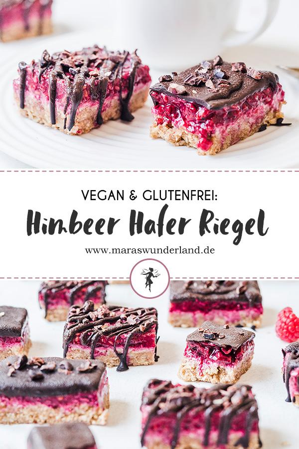 No Bake Himbeer Hafer Riegel mit Schokolade. Vegan, glutenfrei und gesund. • Maras Wunderland