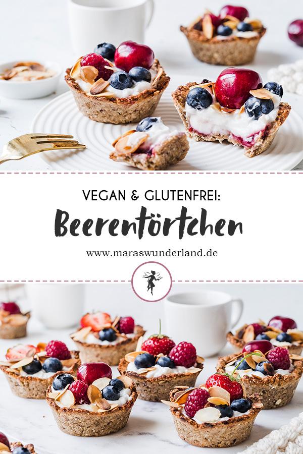 Vegane und glutenfreie Beerentörtchen. Einfach gemacht, gesund und das perfekte Süß für die Gartenparty. • Maras Wunderland