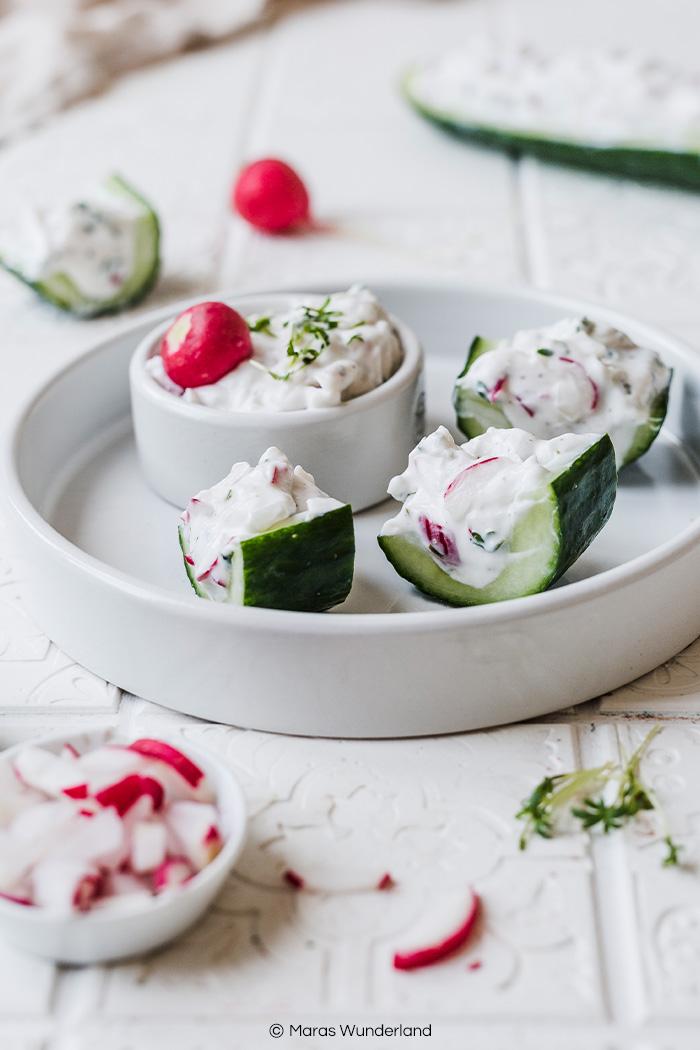 Vegane Gurkenschiffchen. Schneller und einfacher Snack. • Maras Wunderland