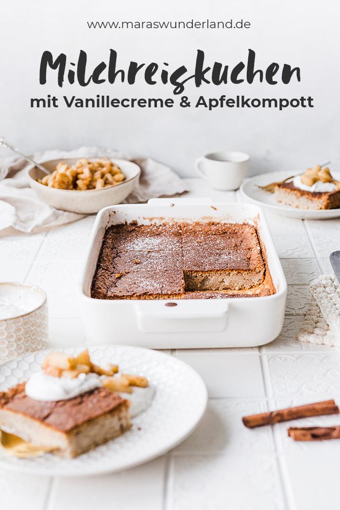 Åländische Pfannkuchen aka Milchreiskuchen. Im Original mit Pflaumenmus, bei mir gesünder und mit Vanillecreme + Apfelkompott. • Maras Wunderland #milchreiskuchen #kuchenrezept