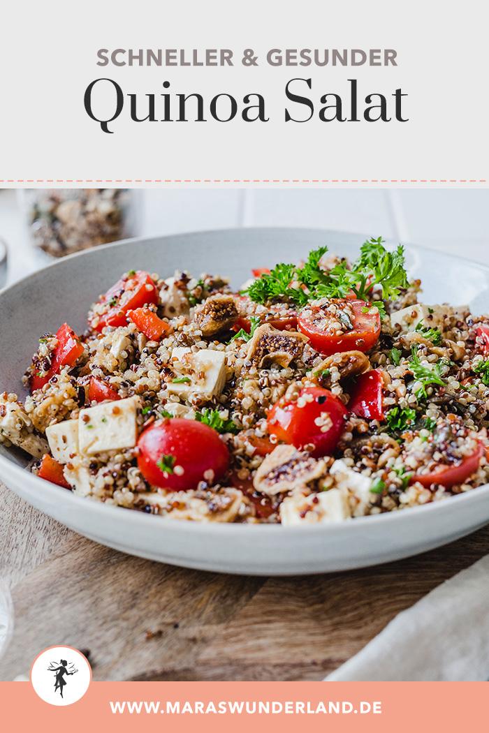 Gesunder Quinoa-Salat mit Tomaten, Paprika, Feta, Feigen & Saaten. In weniger als 30 Minuten fertig und super lecker. • Maras Wunderland